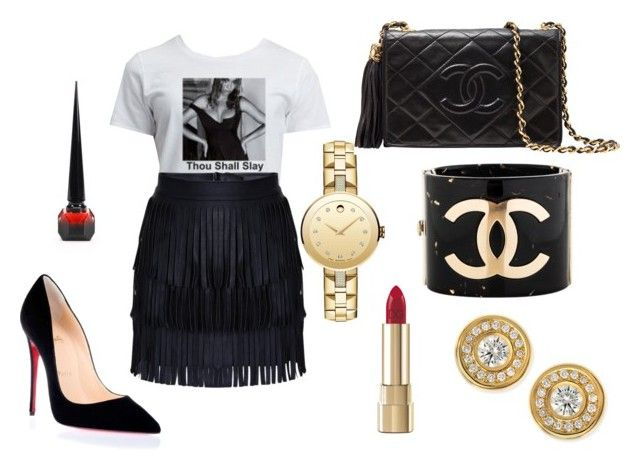 """Thou Shall Slay"" by perceptionandco on Polyvore featuring Movado, Christian Louboutin, Chanel, Roberto Coin and Dolce&Gabbana"