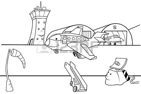 Pista de aeropuerto - ilustración de dibujos animados de blanco y negro, Vector