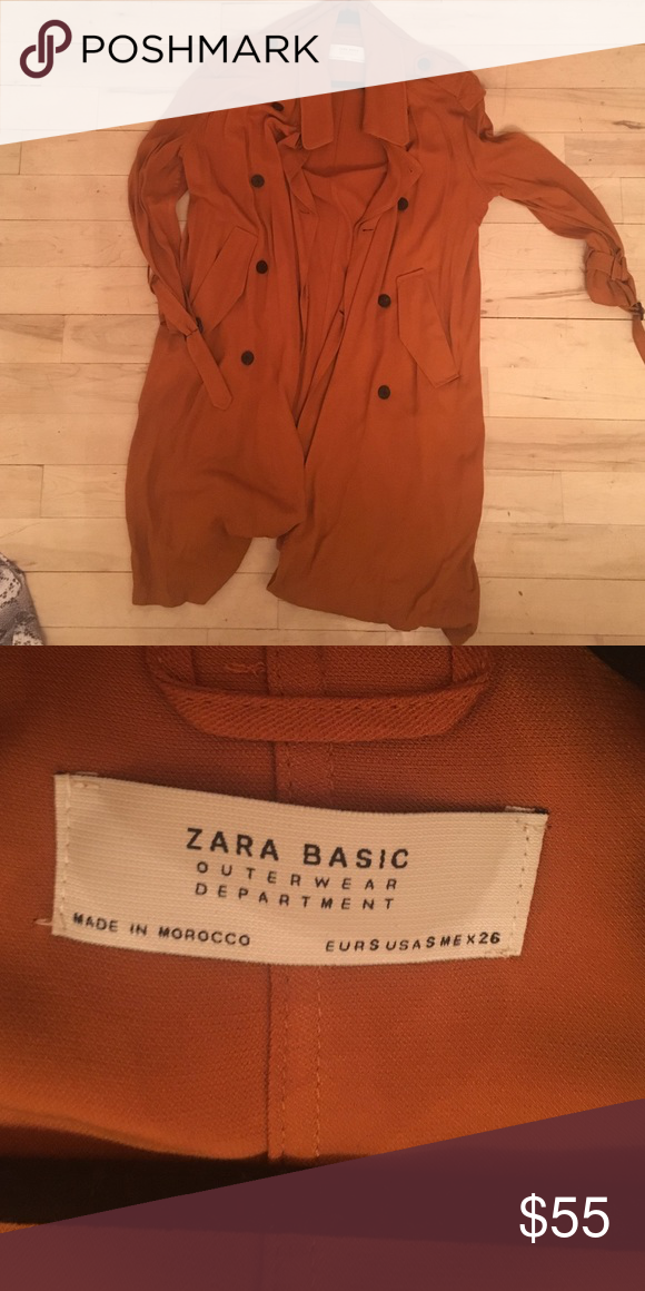 """Zara burnt orange trench Goes a little past my knees (I am 5'6""""). Very loose and flowy, material is viscose. Zara Jackets & Coats Trench Coats"""