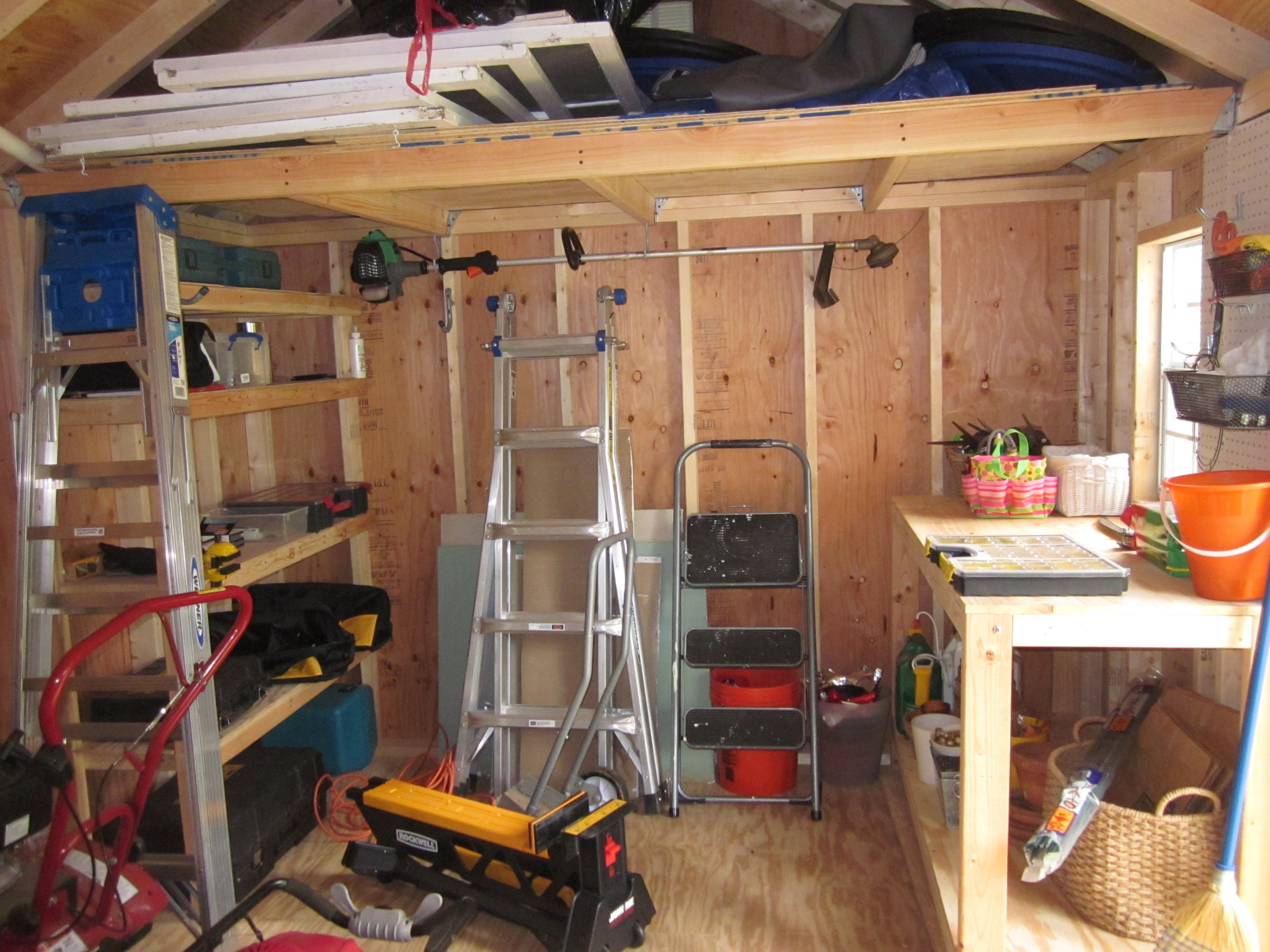 Loft Table Shelf For A 10 Foot Wide Shed All 2x4 S And 2x3 S With Plywood Tops Backyard Storage Sheds Shed Shelving Shed