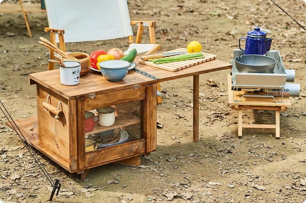 キャンプギアをdiy 便利なテーブル一体型キッチンツールボックス 2020 ツールボックス キャンプ用テーブル キャンプ