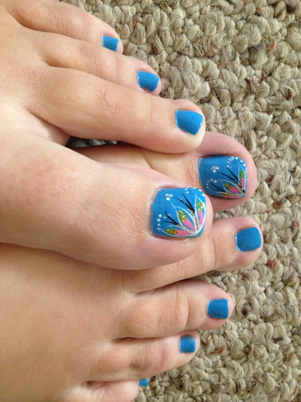 Image via Love my Pedicure nail design. Stripes, polka dots, hearts ...