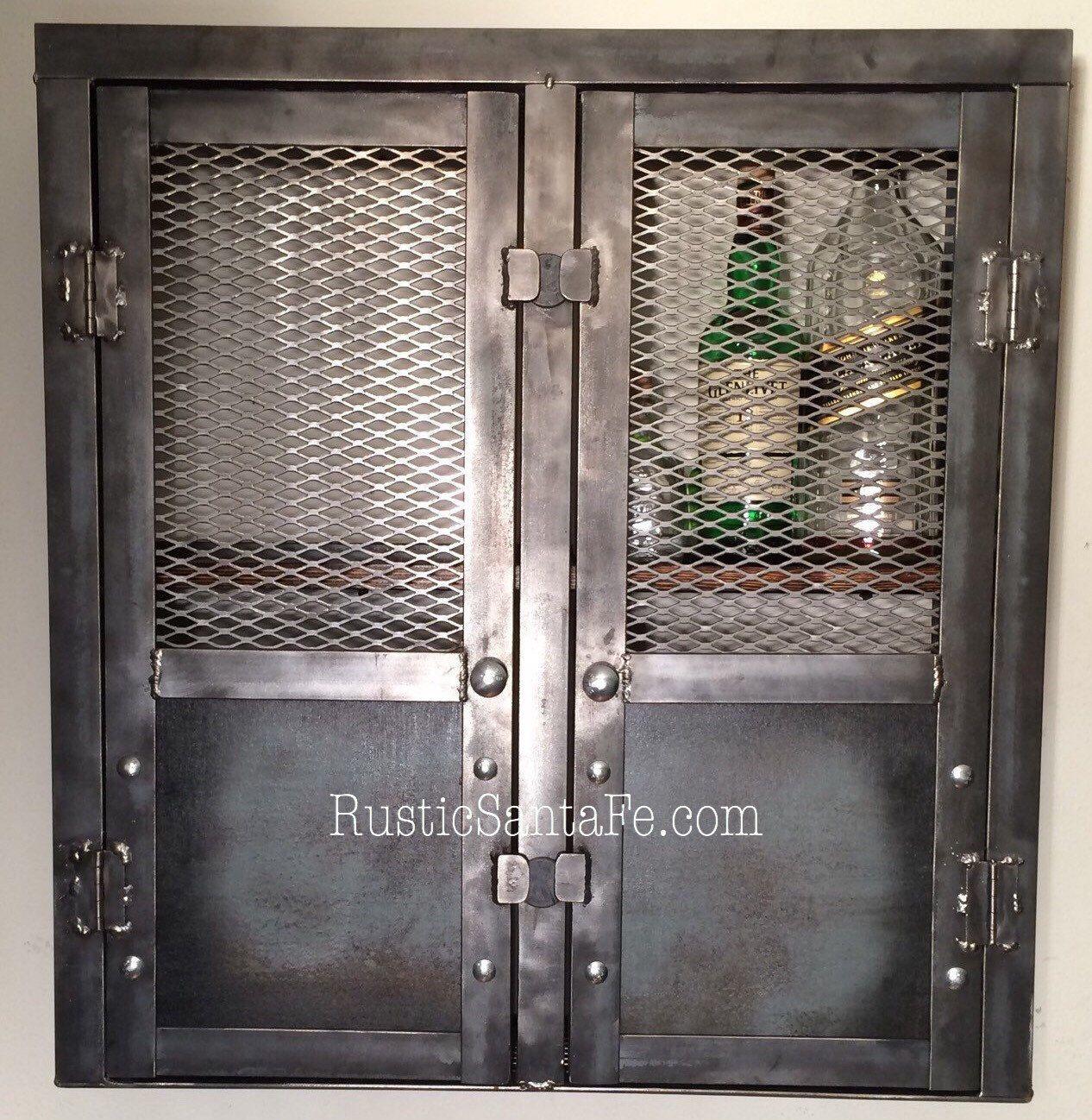 Rustic liquor cabinet, reclaimed industrial cabinet, liquor rack ...