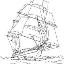 Coloriage navire en haute mer imprimer coloriage coloriage vehicules coloriage bateau - Dessin de voilier ...