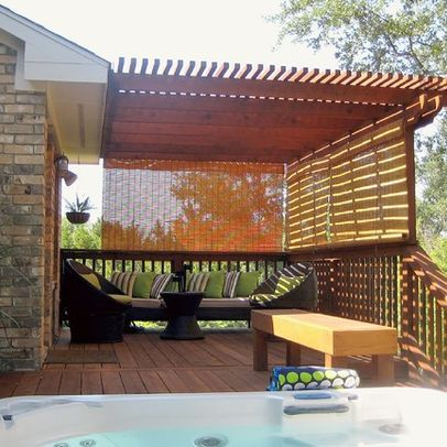 Hanging Bamboo Blinds Outside For Temporary Privacy Patio Shade