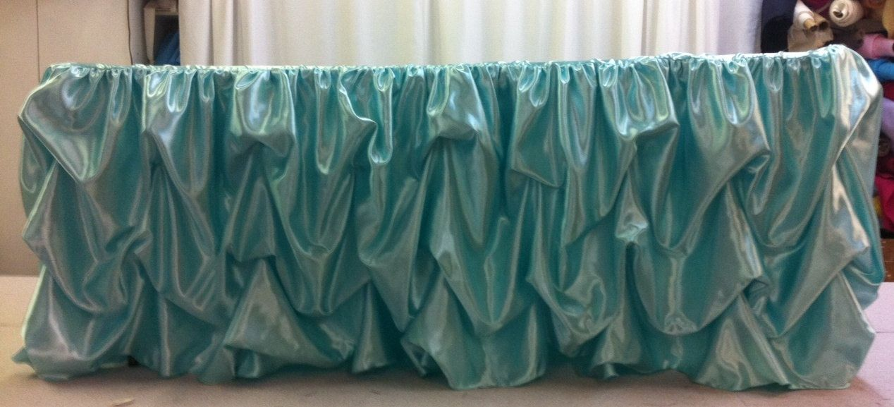 Custom Made Wedding Cake Table Head Table Tablecloth Aqua Blue