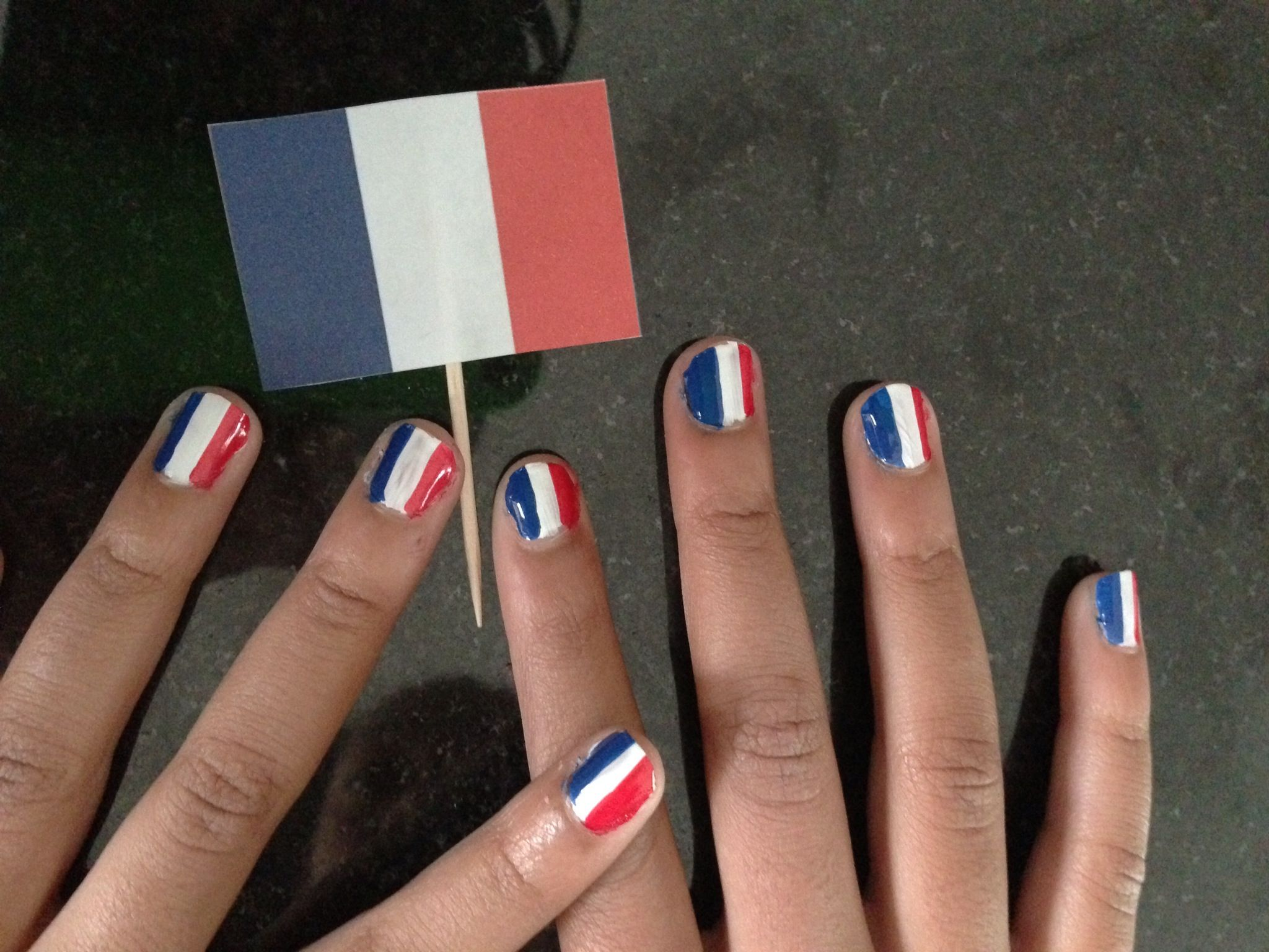 French flag nails   Things I\'ve made   Pinterest   Flag nails