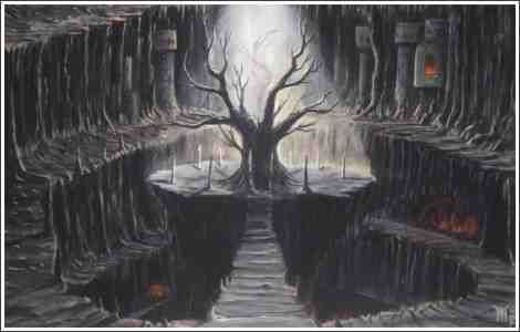 SVARTALFHEIM - homeland of the dark elves.This underground world lies between the lowest sphere of Midgard and the highest sphere of Helheim. It is inhabited by dark elves, and dwarfs, who are dexterous and capable of manufacturing magical articles.