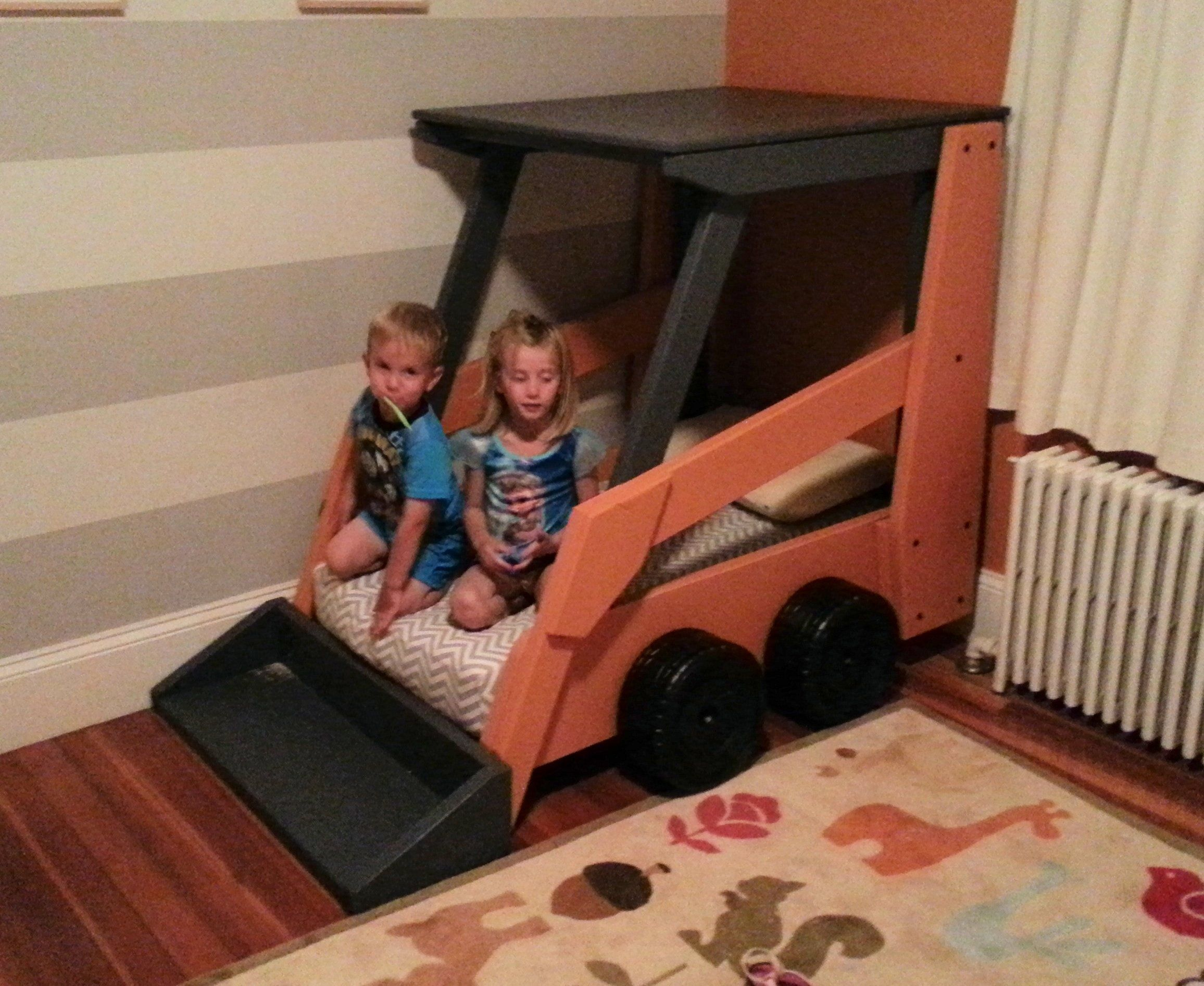 Handmade Wooden Toddler Bed Designed To Look Like A Case Skid Steer
