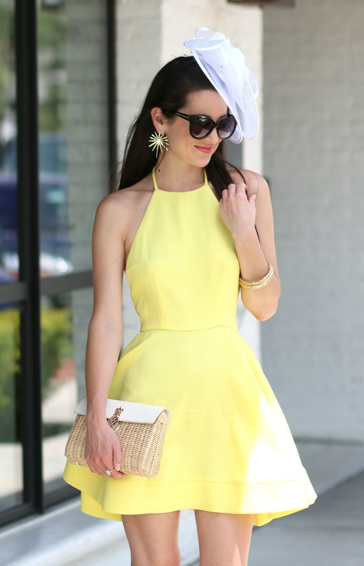 52a54a286acc Yellow Derby Dress and White Fascinator Hat