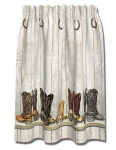 Amazon WESTERN Cowboy BOOTS Saddle UP SHOWER CURTAIN Bath NEW Home Kitchen