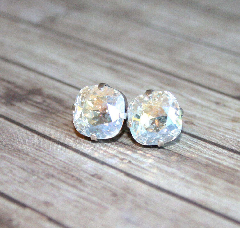 Crystal Earrings Rhinestone Swarovski Moonlight Bridal Jewelry