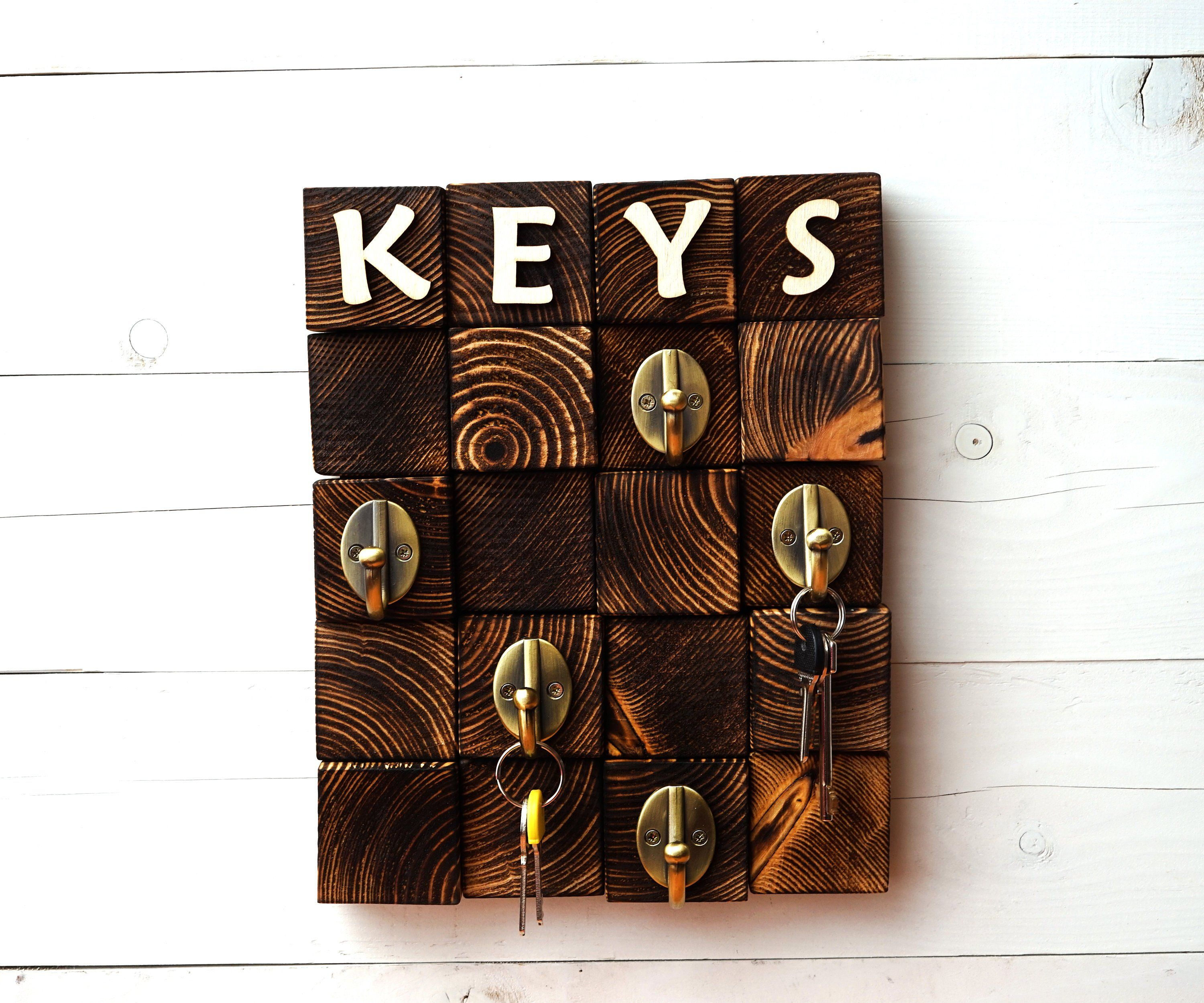 Personalized Men Key Hook Key Rack For Wall Wooden Key Holder