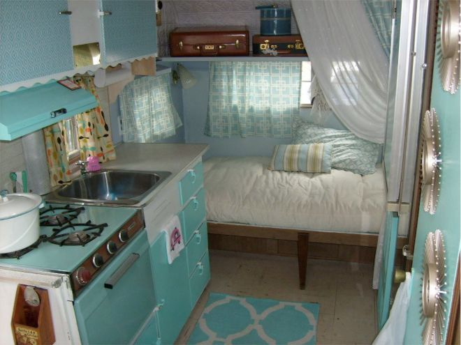 Could Use Lil Metal Sink Stove Cabinet Things From Nutwood Apt Glamp In Style With This 1965 Remodeled Vintage Camper
