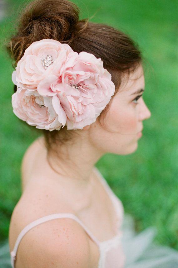 Crystal Silk Flower Headpiece, Blush pink rhinestone headpiece full bridal items, etsy shop