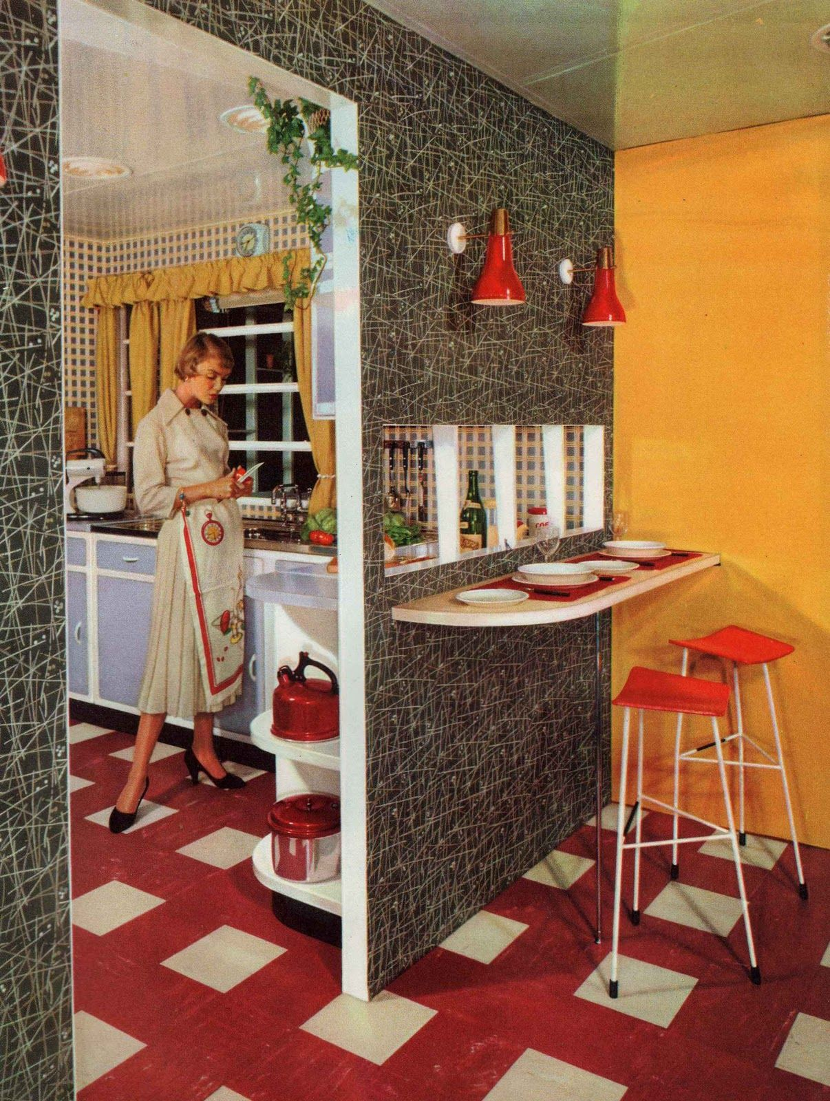 1950s interior - kitchen/breakfast bar - atomic feature wall | Home ...