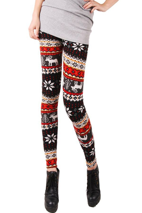 6402fa94e62c0 Red Grey Winter Warm Womens Thick Christmas Leggings in 2019 | Just ...