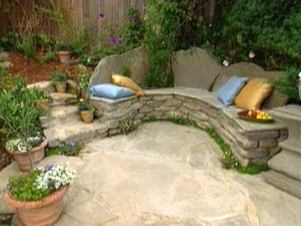 Rustic Wooden Stone Garden Benches With Images Garden Bench