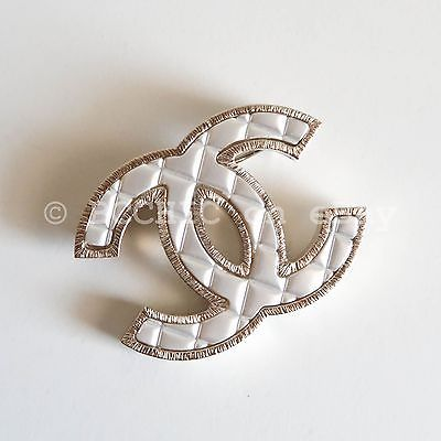 45ed5e3fbaf 100% auth CHANEL brooch quilted silver gold tone cc logo small + box bag  dustbag