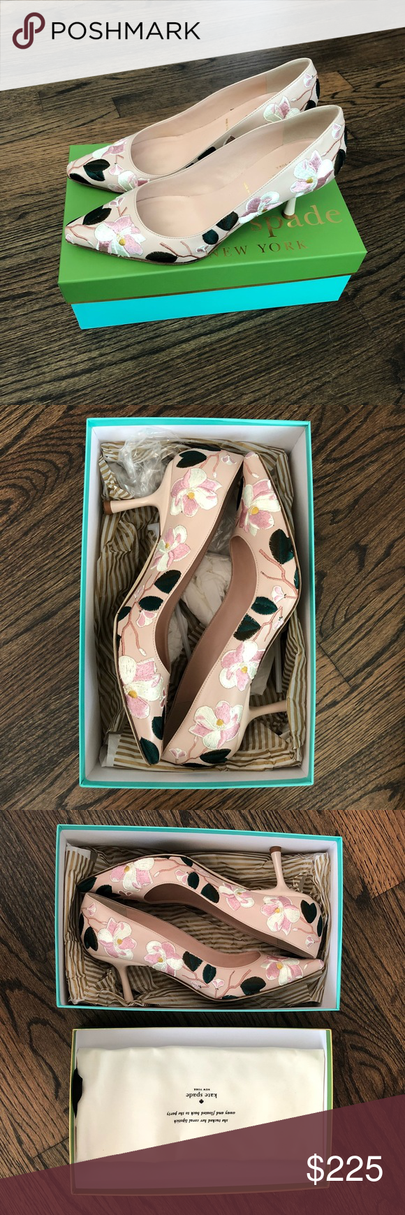 1244f885ee68 Kate spade lynne pink embroidery flower heels euc worn once to a wedding  been png 580x1740