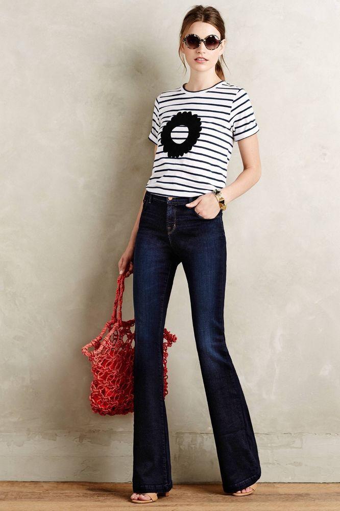 75fc567e90ccb  248 J Brand Jeans Maria High Rise Flare Denim in Embrace Anthropologie 29  New  JBrand  Flare
