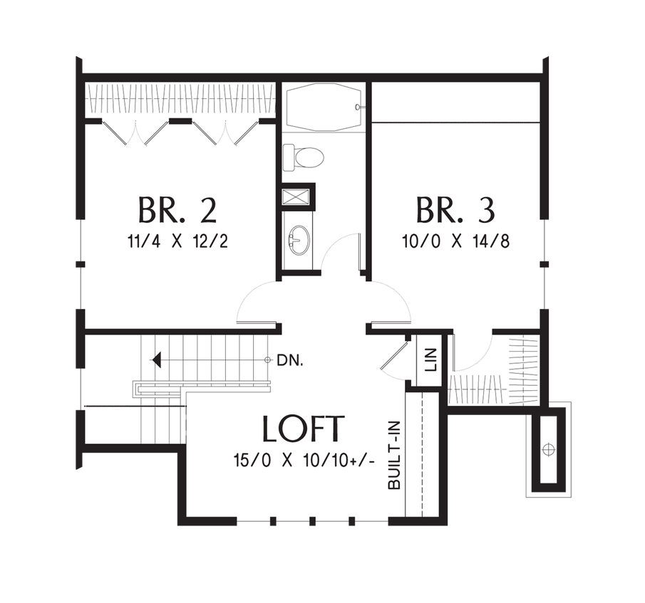 Craftsman bungalow with open floor plan and loft plan - Traditional neighborhood design house plans ...