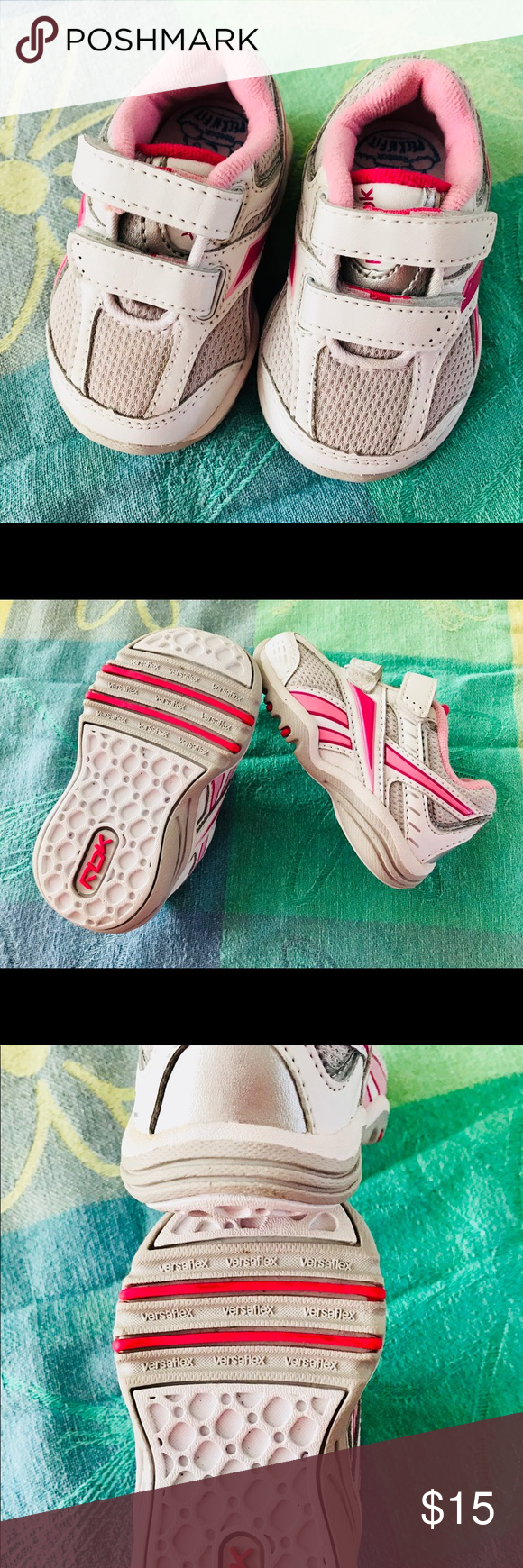 ee4d8a3811d Infant Reebok s Pink and white size 2 Baby girl Reebok s with peek n  fit  and versaflex soles. Velcro for easy on and off. They are in like new  condition ...