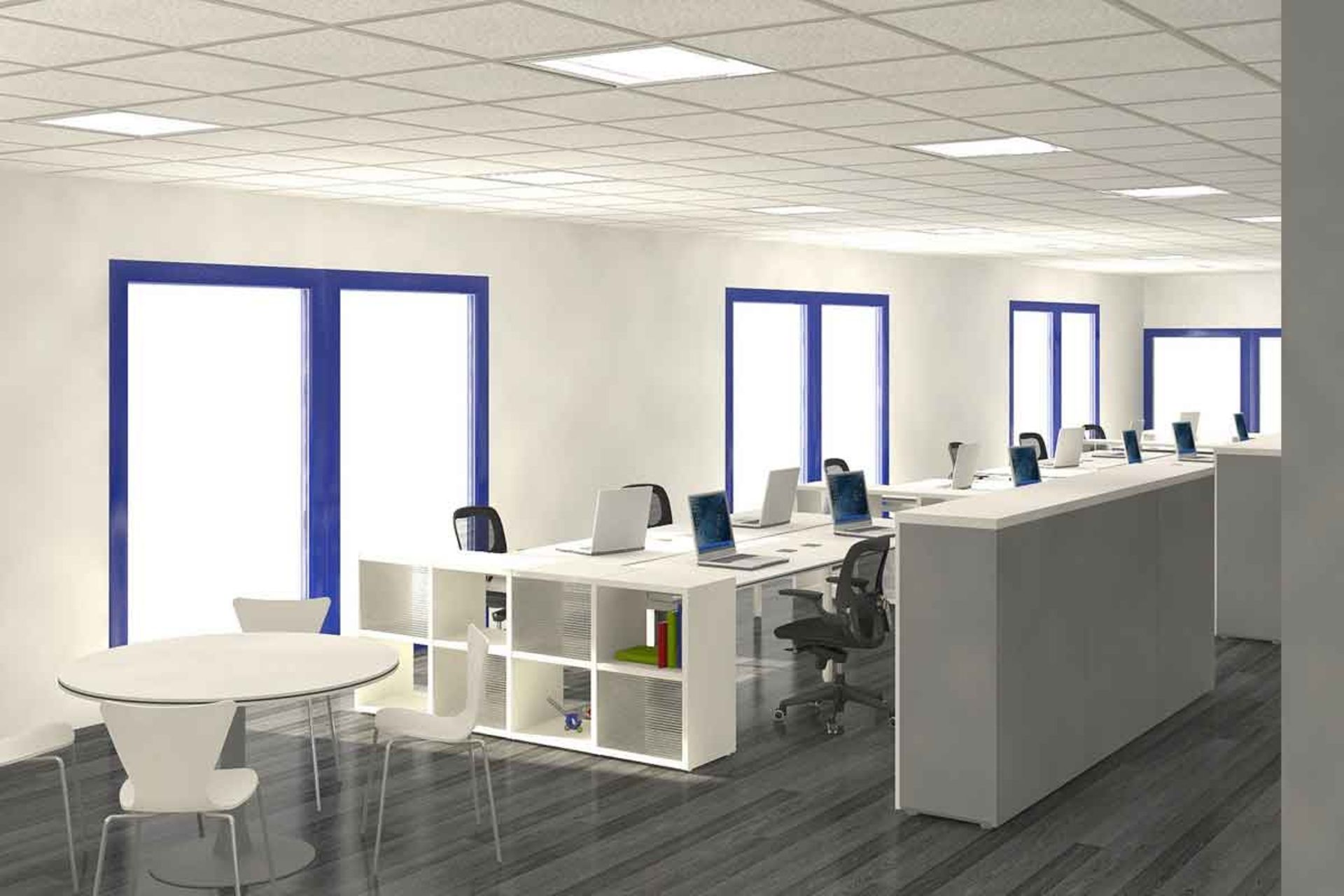 Corporate office decor using ikea furniture google for Beautiful modern office design
