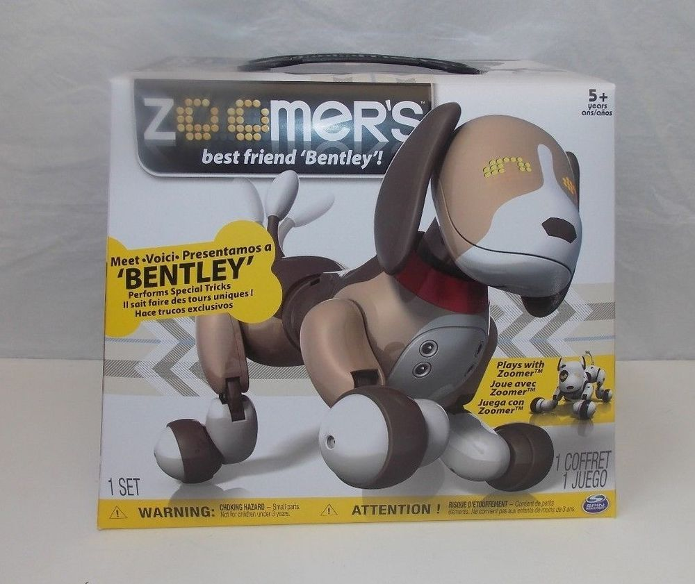 Zoomer Bentley Tan Brown Robotic Dog Toy Electronic Interactive