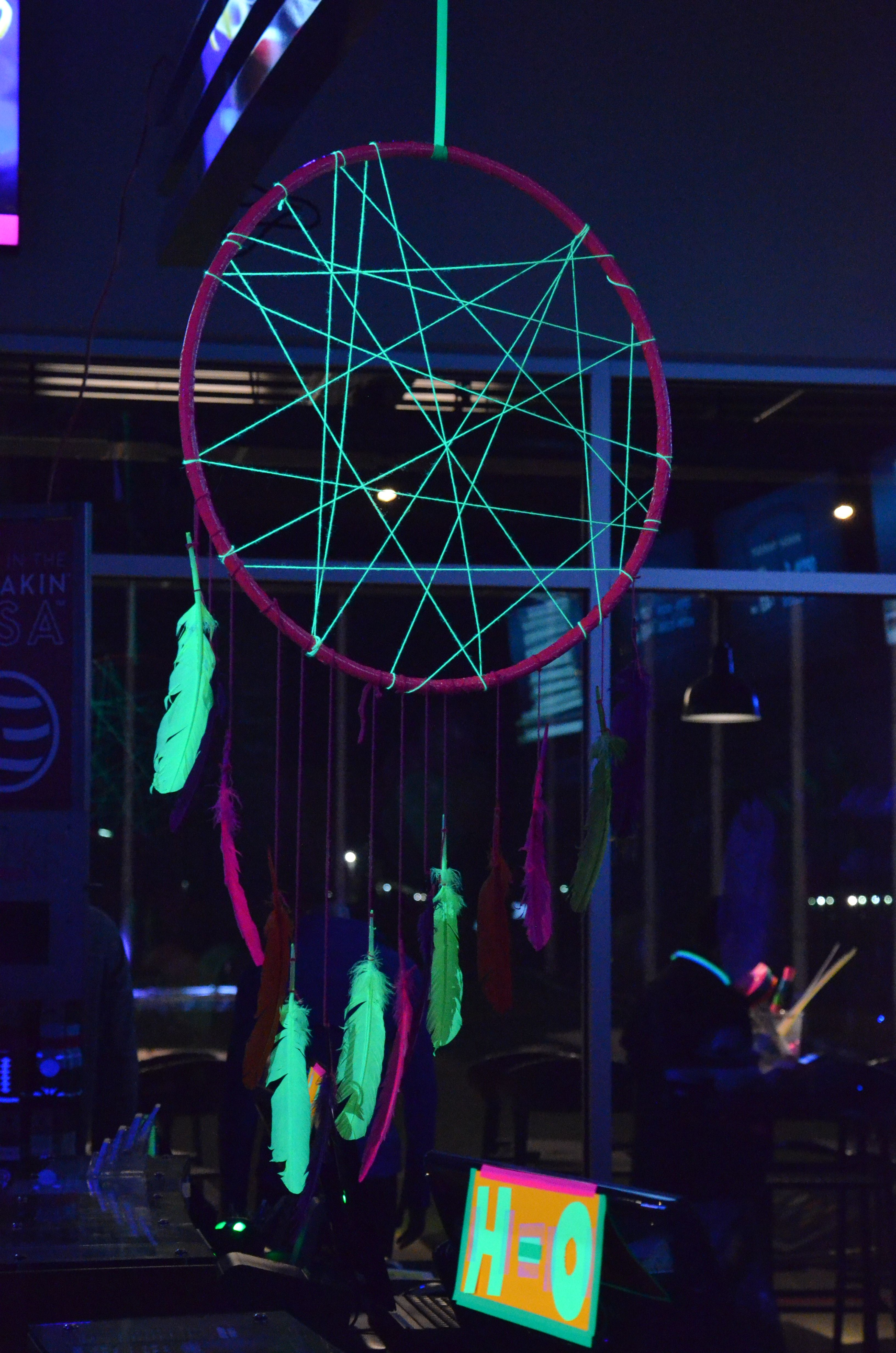 Black Light Neon Dream Catcher Made With A Hula Hoop,