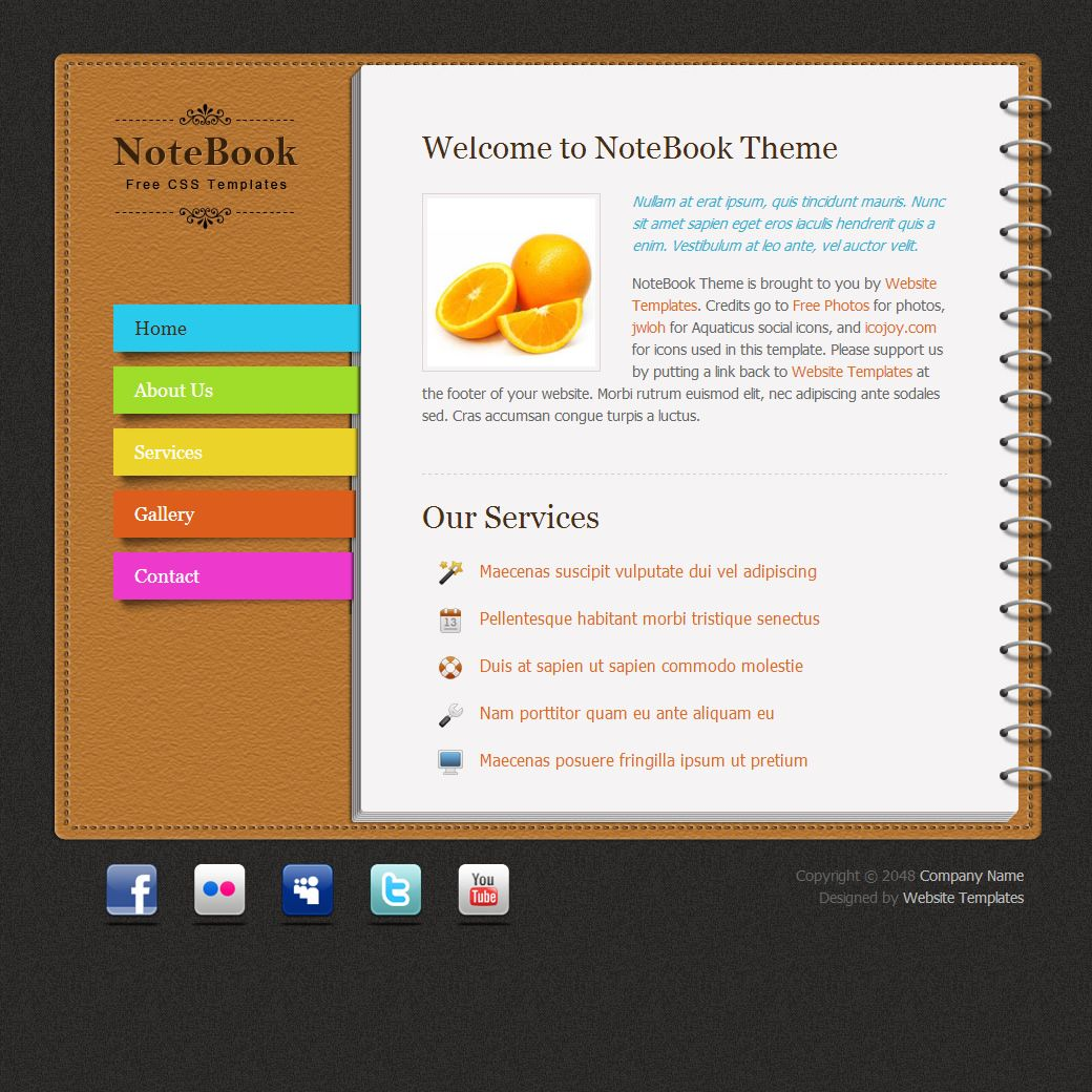 Notebook Html Template Html Templates Pinterest Website