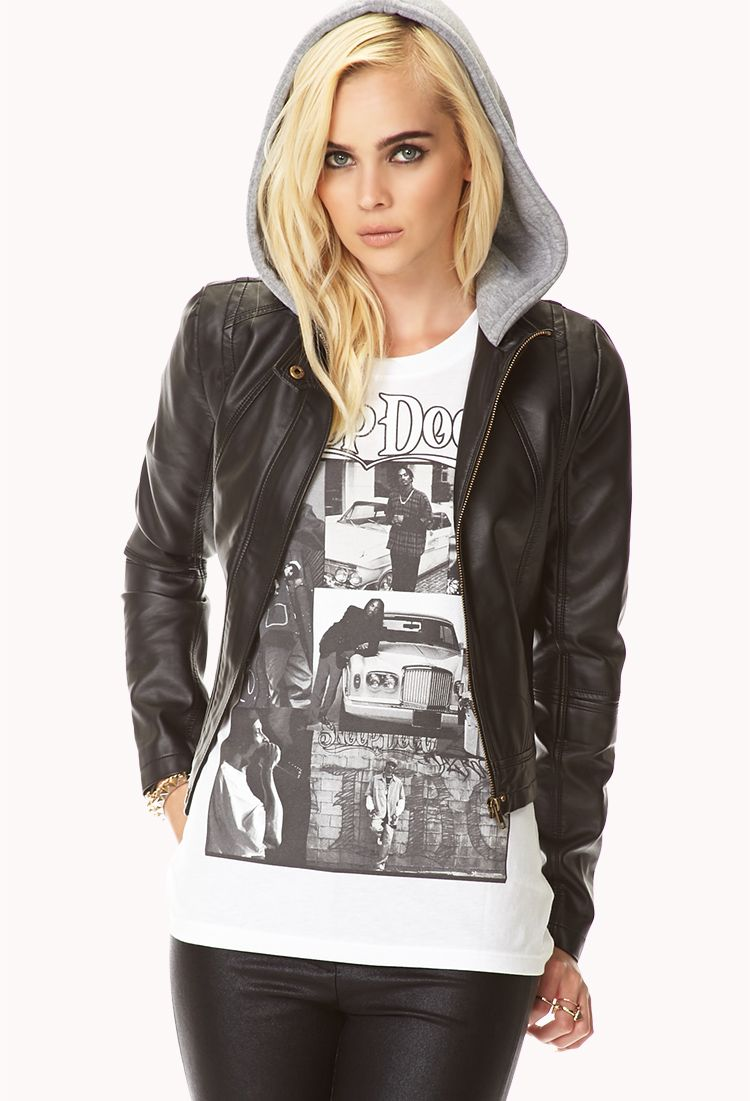 Cool Girl Cropped Bomber Jacket | FOREVER21 - 2073318876 | college ...