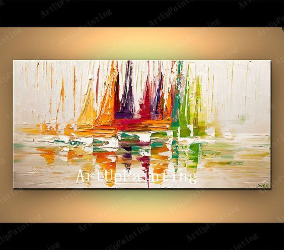Canvas schilderij van boot zeilen handgeschilderde for Schilderij woonkamer