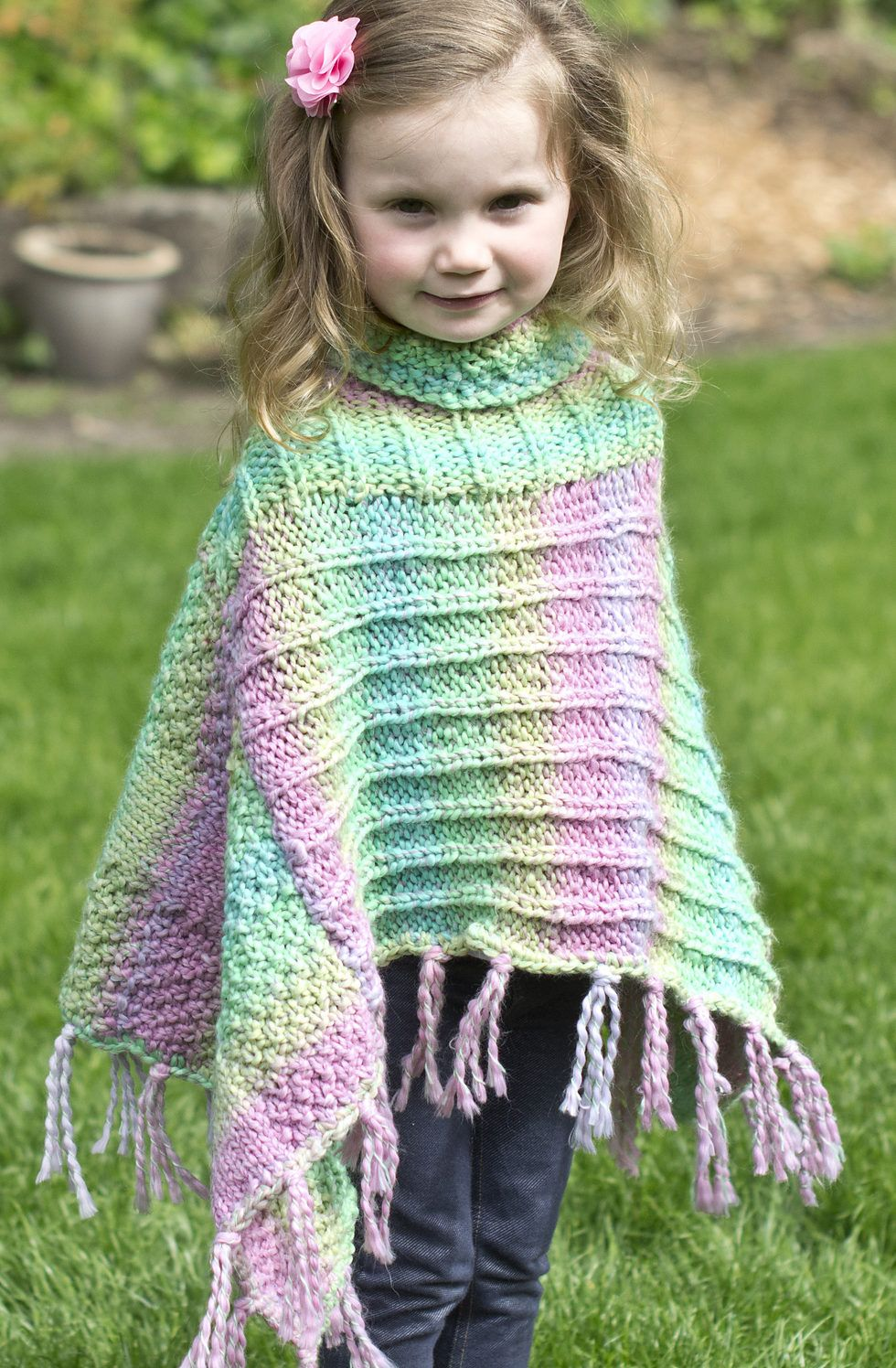 Free Knitting Pattern for Fun Times Poncho - Poncho is made in two ...