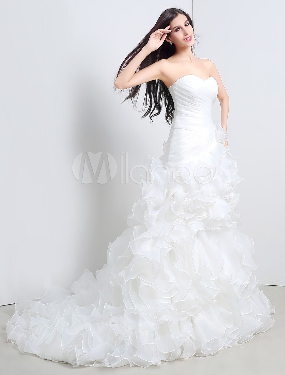 Ball Gown Strapless Sweatheart Ruffled A-Line Wedding Gown With Chapel Train-No.4