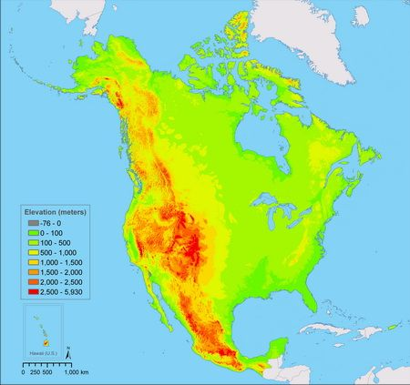 Elevation of North America | geo | Map, Abstract, Chart
