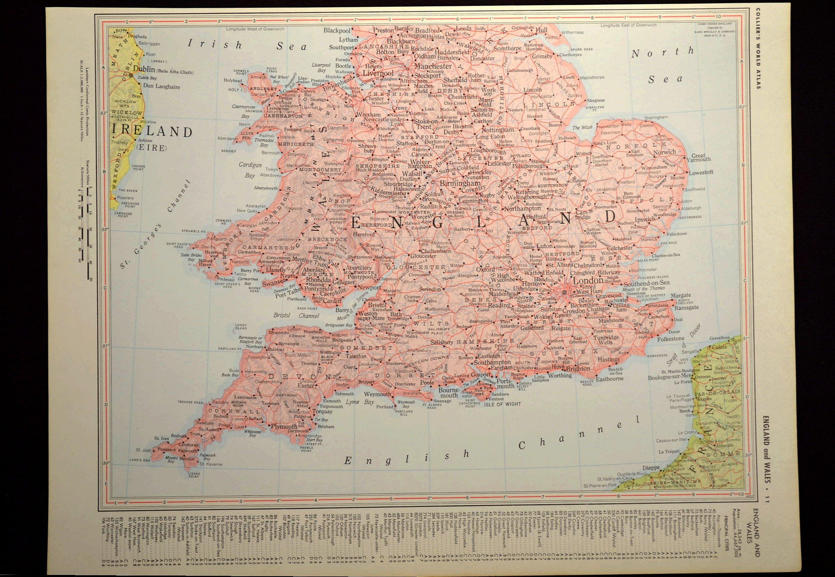 Map Of England Vintage.England Map Of England Wall Decor Art Vintage Wales Southern South