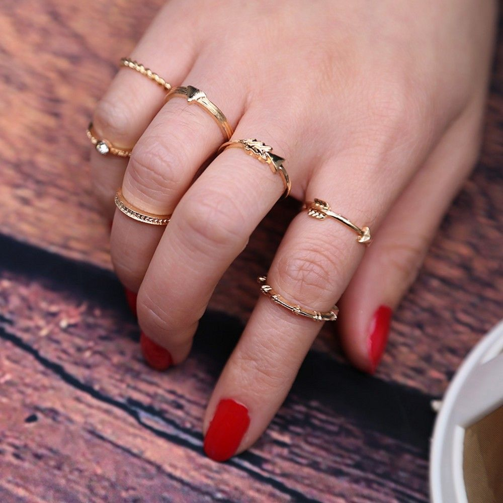 Cloaccd 7PCS/Set Vintage Gold Color Knuckle Rings Set for Women ...