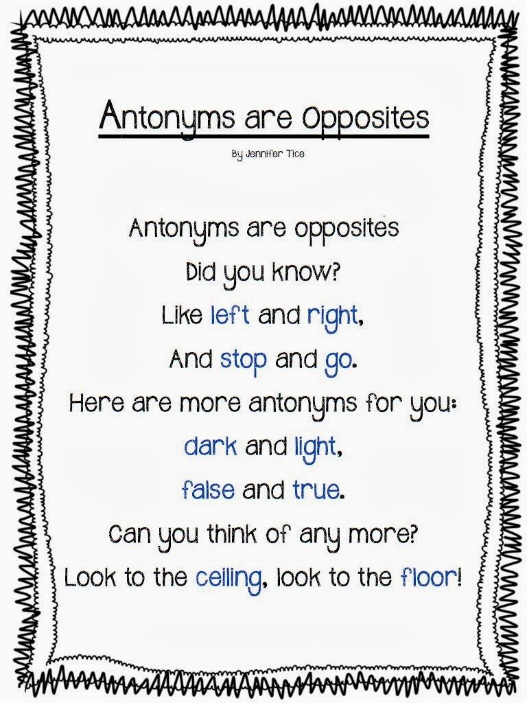 antonyms for first grade | anchor chart  Then I asked my students