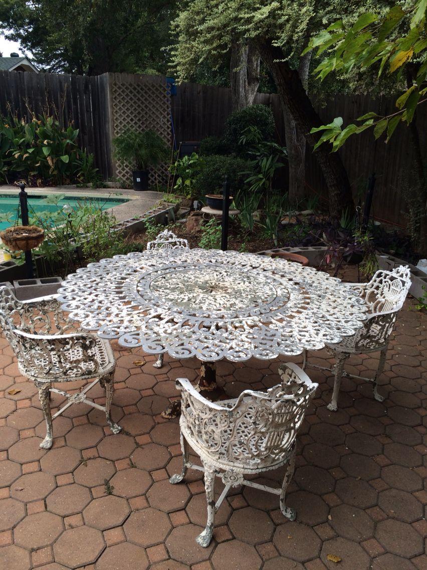 Antique Estate Wrought Iron Cast Aluminum Table Chairs Patio