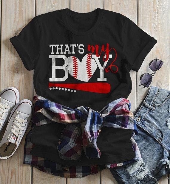 Photo of Women's Baseball T Shirt That's My Boy Shirts Baseball Mom Tee Son Tshirt