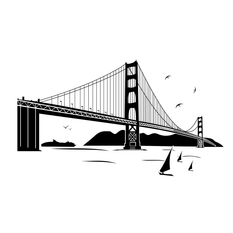 Golden Gate Bridge Graphics Svg Dxf Eps Cdr Ai