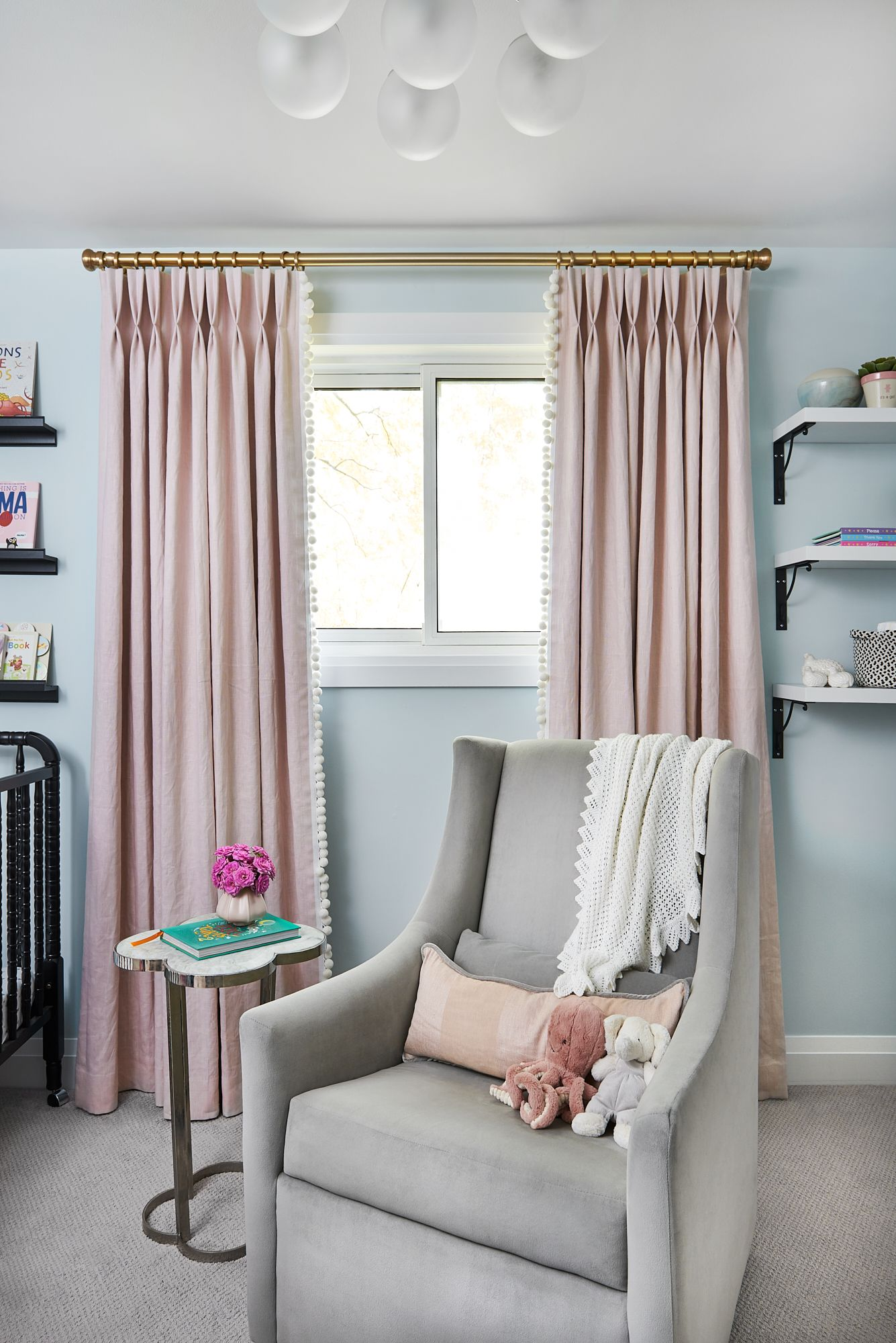 Adding Pom Pom Trim To The Leading Edge Of Your Nursery Drapery