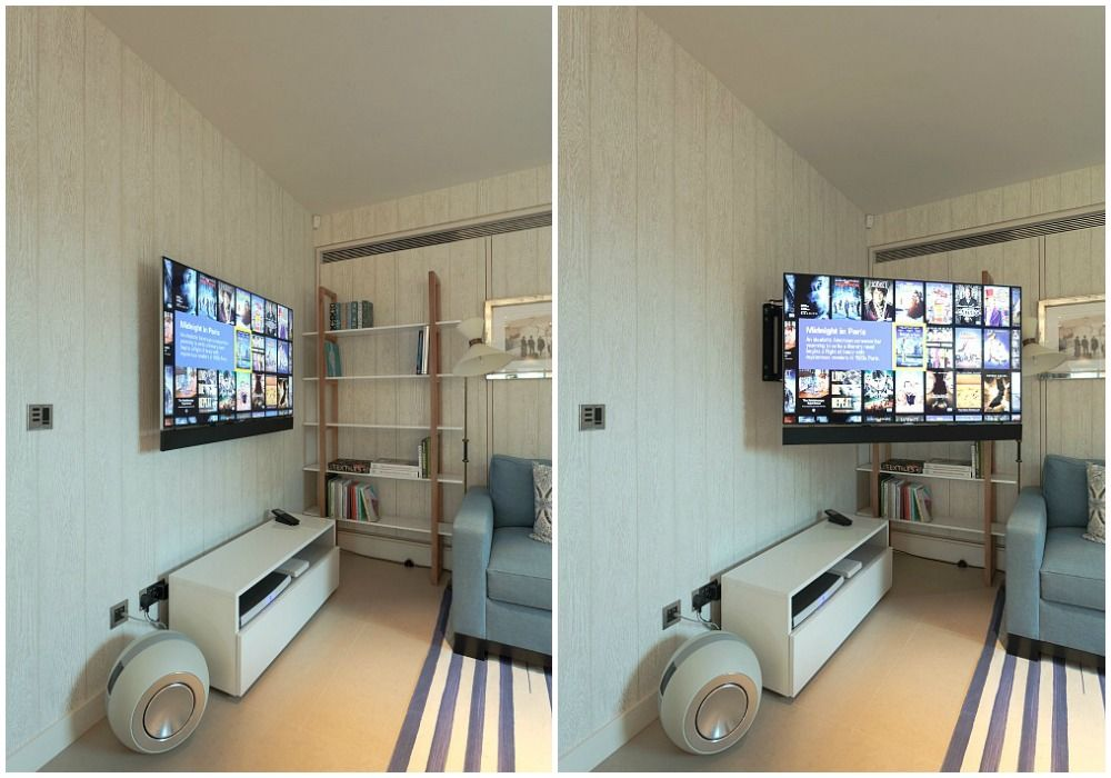 The Kitchen Tv Mounted On Bespoke Future Automations Swivel Wall Bracket
