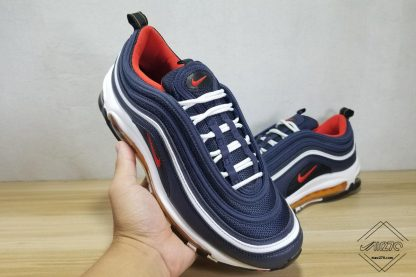 Nike Air Max 97 Midnight Navy Habanero Red in 2020 | Air max