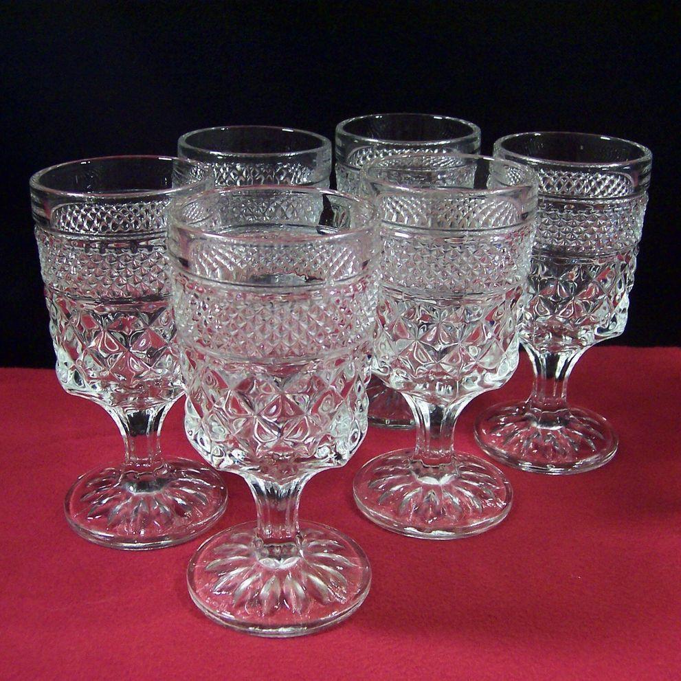 Set Of Six Wexford Wine Goblets Wine Goblets Antique Glassware Mason Jar Wine Glass