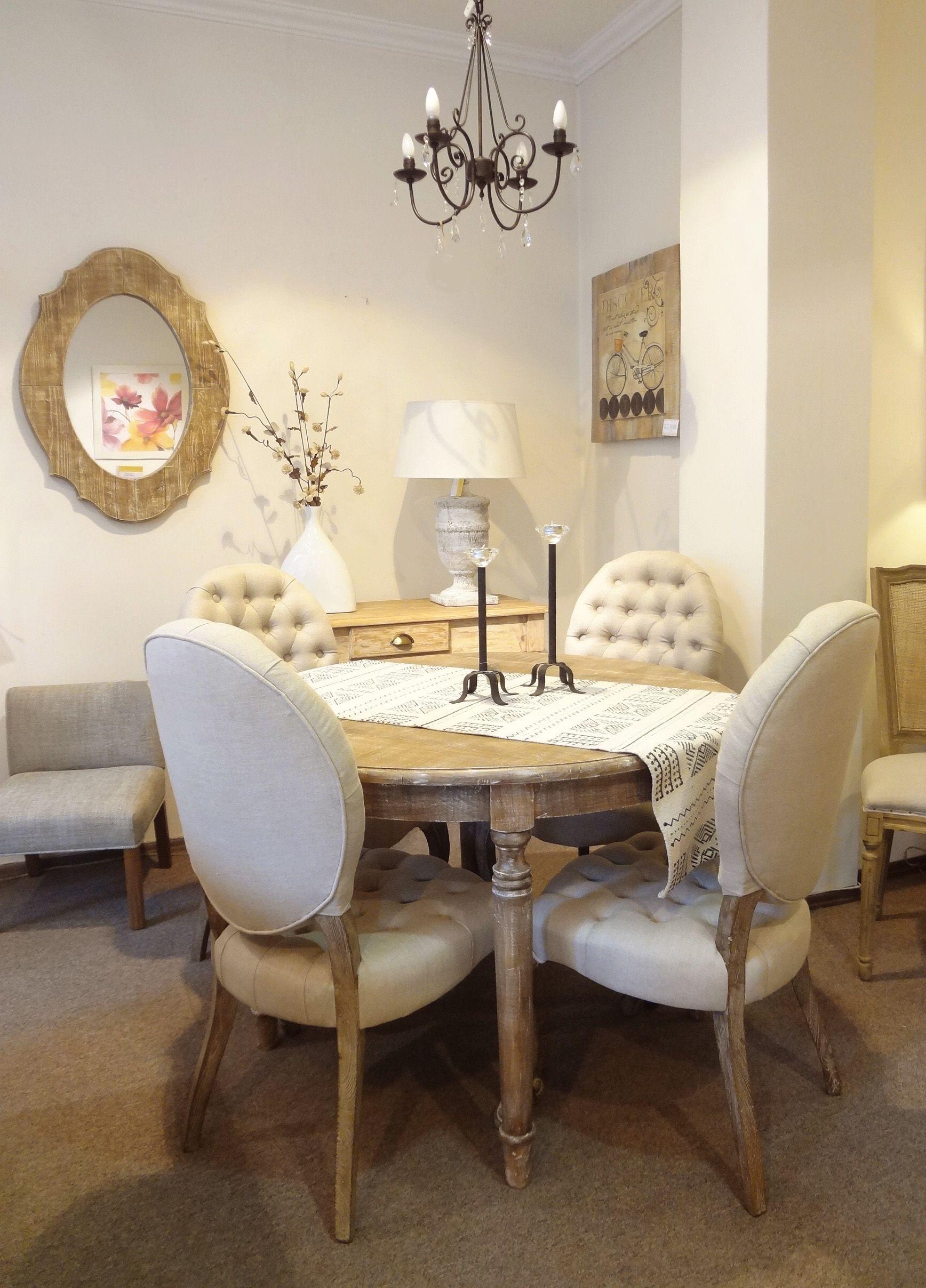 Mesa imperio de 110cm de di metro combinada con sillas de for Sillas comedor rusticas