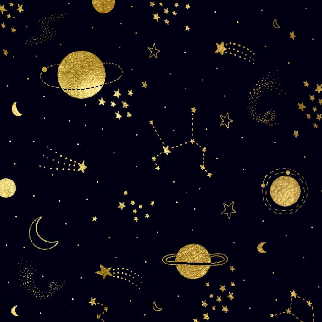 Black And Gold Space Wallpaper In 2021 Gold Star Wallpaper Gold And Black Wallpaper Black And Gold Aesthetic