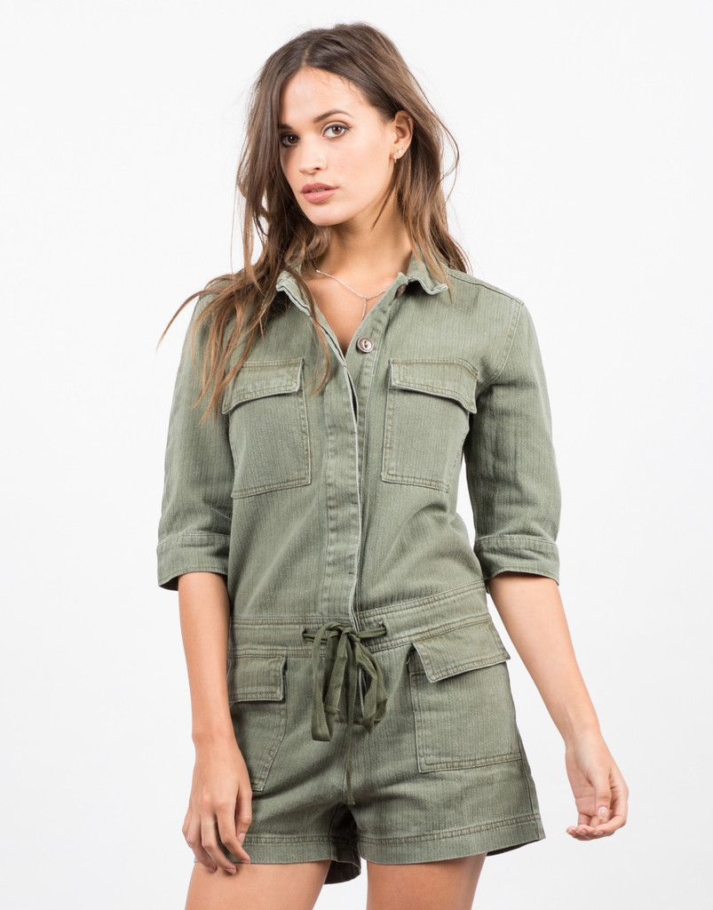 324ee2534ed Collared Button Down Denim Romper - Green Romper - Womens Denim – Jumpsuits  and Rompers – 2020AVE