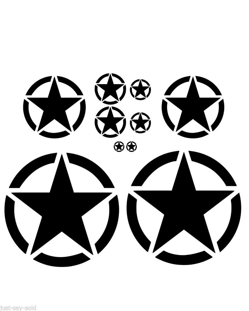 Invasion circle star set of 10 vinyl decal stickers jeep willys select color
